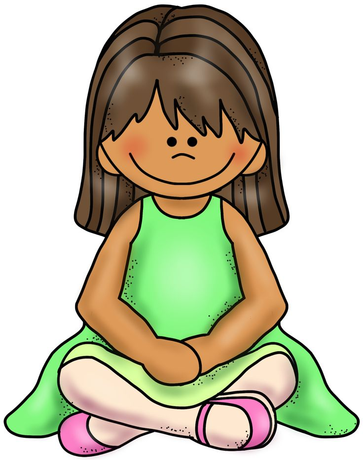 Girl criss cross sitting clipart.