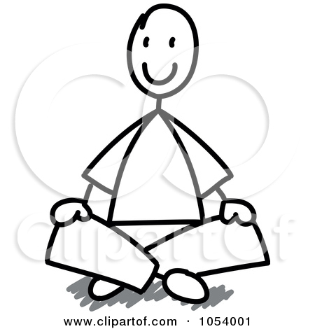 Black and white clipart of boy sitting criss cross.