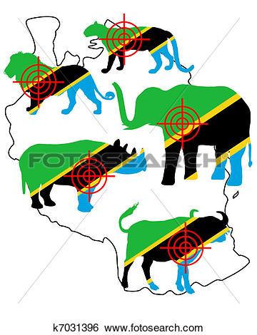 Clip Art of Big Five Tanzania cross lines k7031396.
