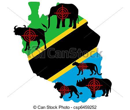 Clip Art of Big Five Tanzania cross lines csp6459252.