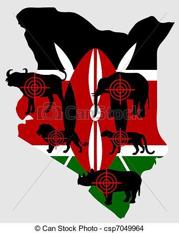 EPS Vector of Big Five Kenya cross lines csp7049964.