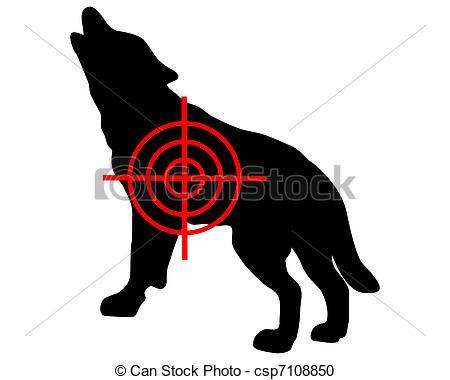 Vector Clipart of Gray wolf crosslines csp7108850.