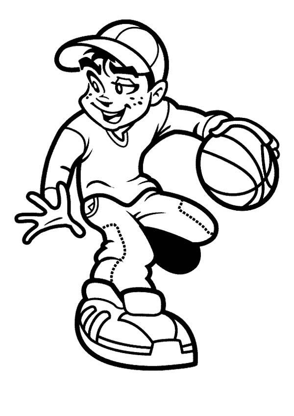 Girl and boy playing basketball clipart