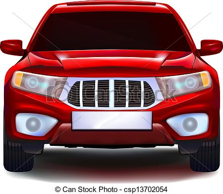 Clipart Vector of Red crossover car with blank number plate.