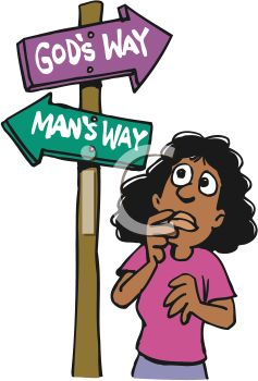 Christian Cartoon of a Woman at a Crossroads Between God's Way and.