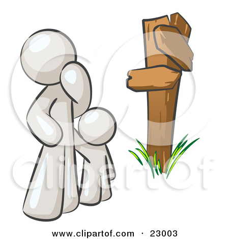 Clipart Illustration of an Uncertain White Man And Child Standing.