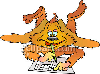 Royalty Free Clip Art Image: Dog Doing A Crossword Puzzle.