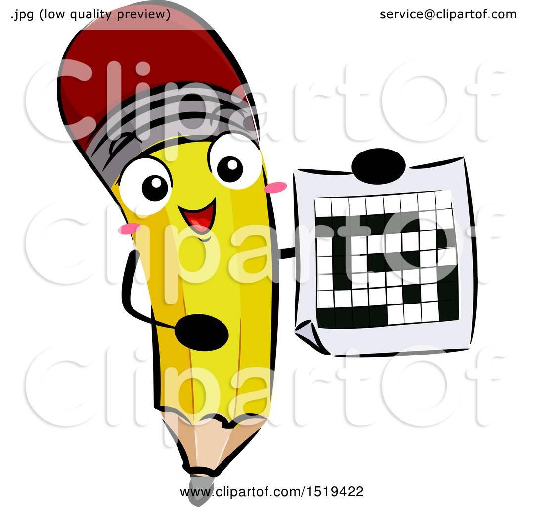 Clipart of a Pencil Character Holding a Crossword Puzzle.