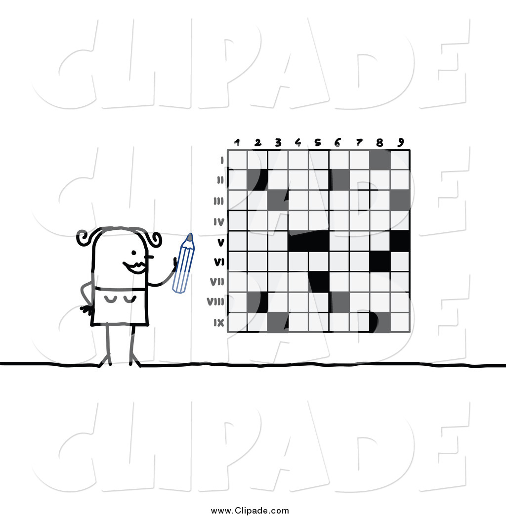 Clip Art of a Stick Woman and a Giant Crossword Puzzle by NL shop.