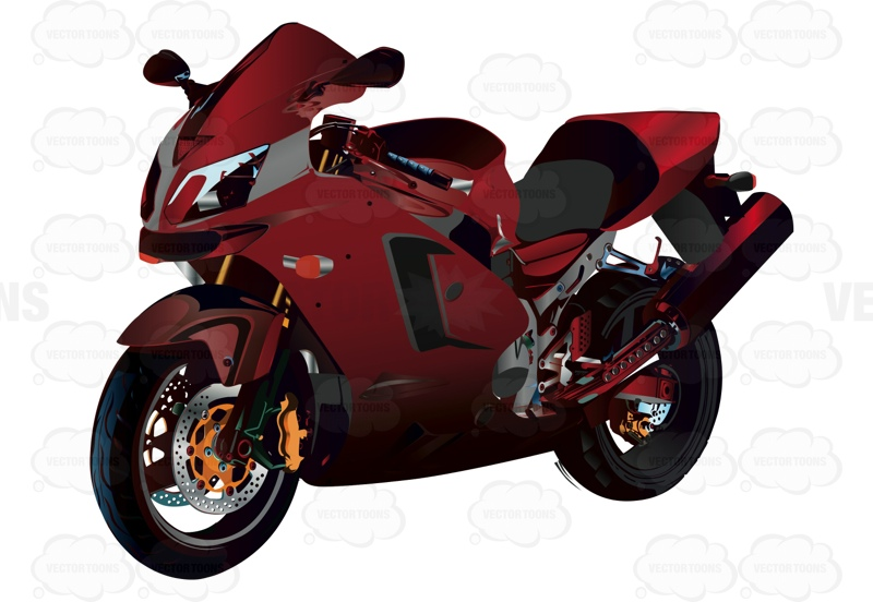 Red Crotch Rocket Motorcycle Cartoon Clipart.