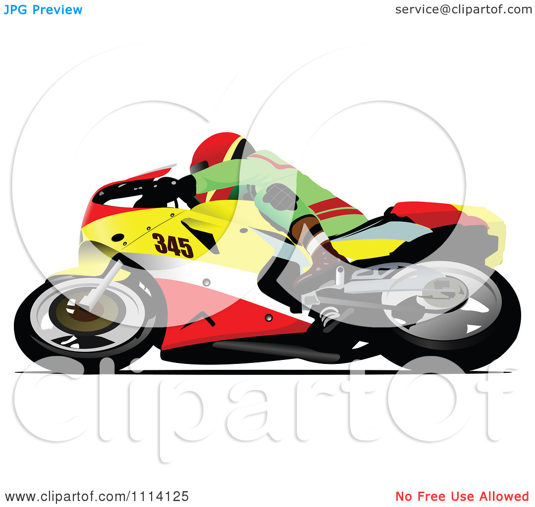 Clipart Crotch Rocket Motorcycle Motocross Racer Turning.