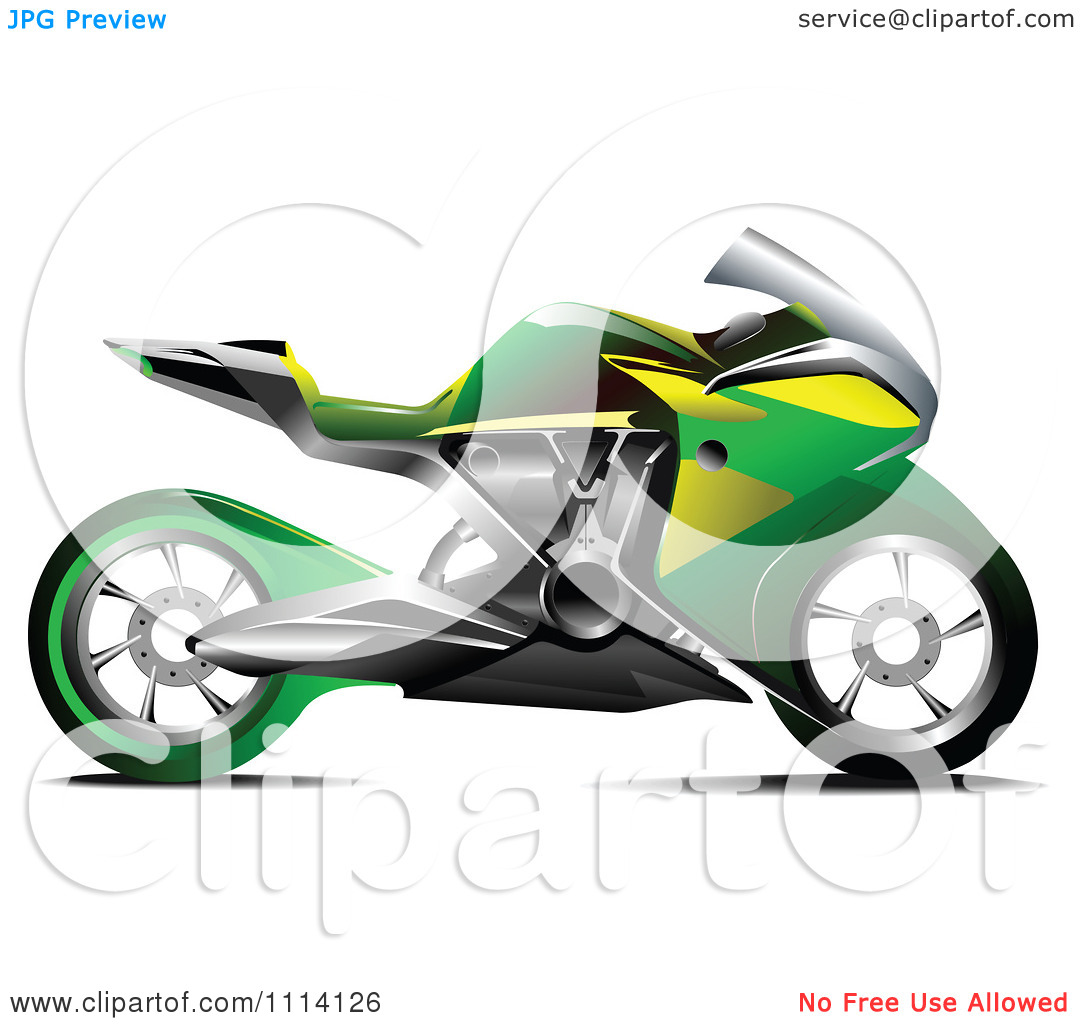 Clipart Green And Yellow Crotch Rocket Motorcycle.