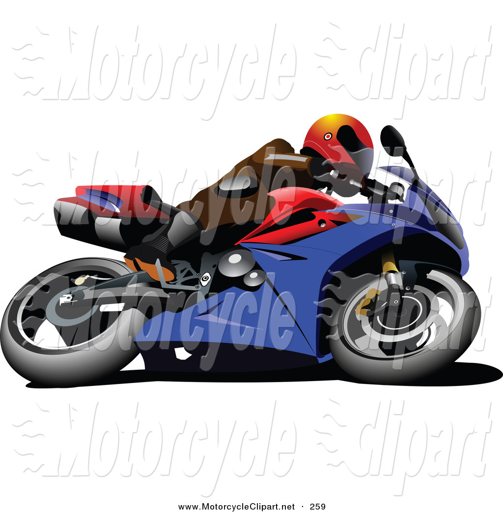 Transportation Clipart of a Person on a Crotch Rocket Motorcycle.