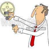 Clipart Of A Grumpy Crotchety Old Bespectacled White Businessman.
