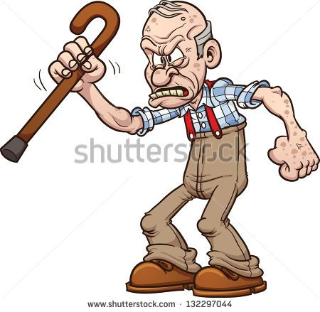 Angry old man clipart.