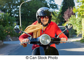Picture of Crotchety old lady on a scooter making a rude gesture.