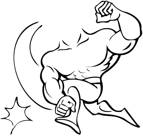 Muscle man heart crouch silhouette clipart.