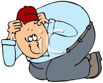 Cartoon of a Scared Man Ducking Down.