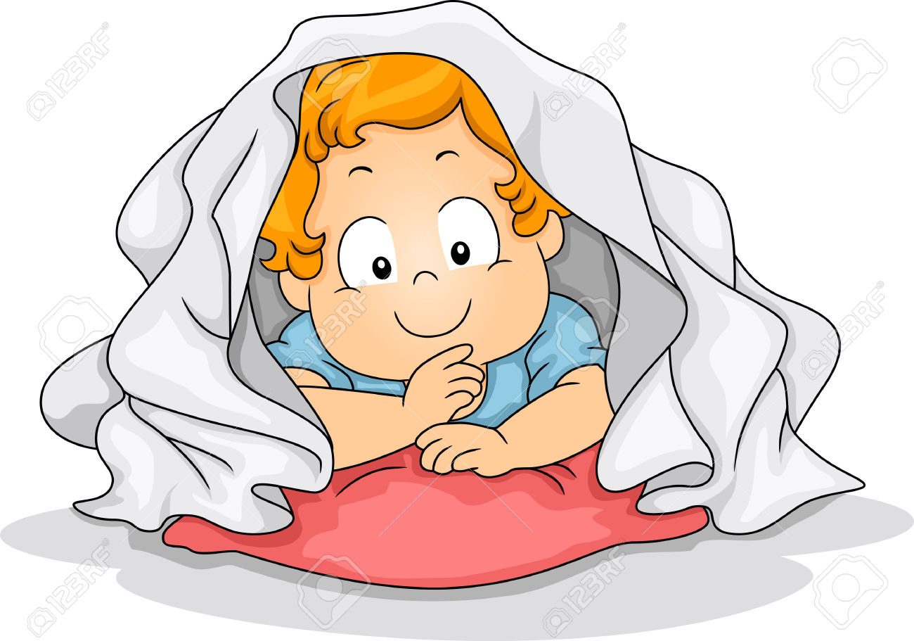 Illustration Of A Young Boy Crouched Inside A Blanket Stock Photo.