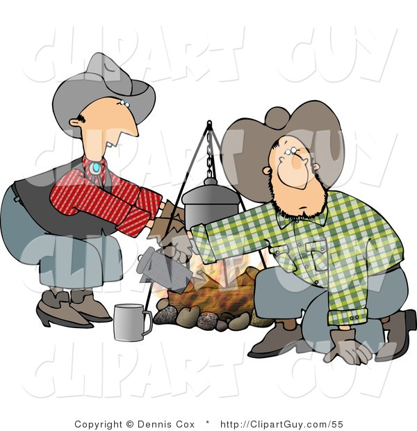 Clip Art of a Cowboy and Cowgirl Crouched Beside a Campfire by.