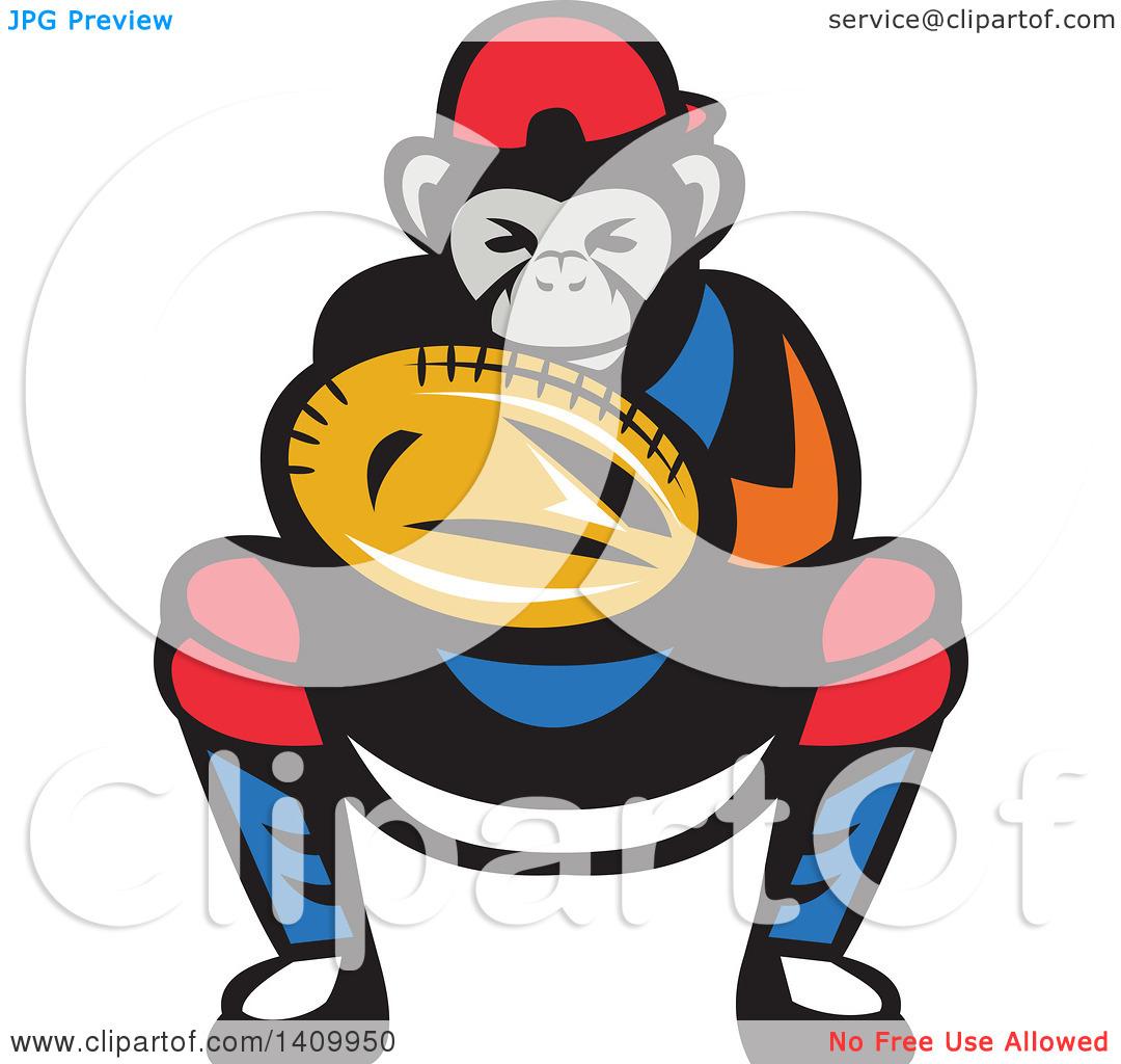 Clipart of a Tough Chimpanzee Monkey Baseball Player Catcher.