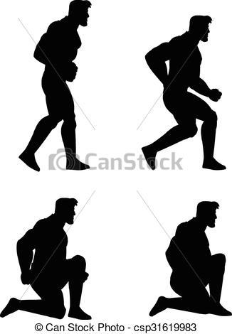 Crouching man clipart.