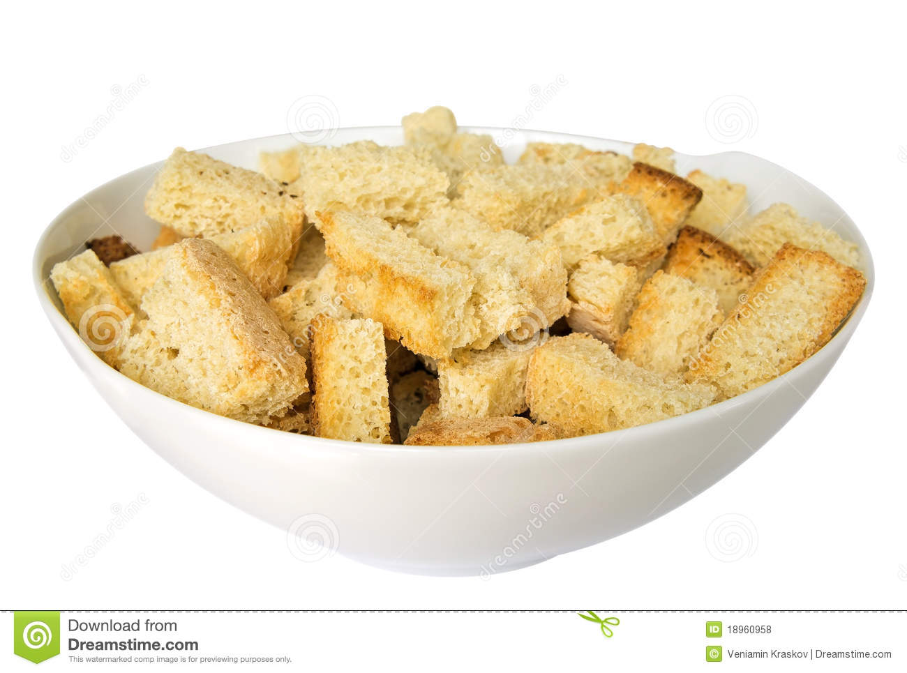 Croutons In A Dish Royalty Free Stock Photos.