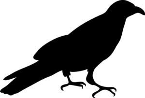 Black Cartoon Crow Clipart.