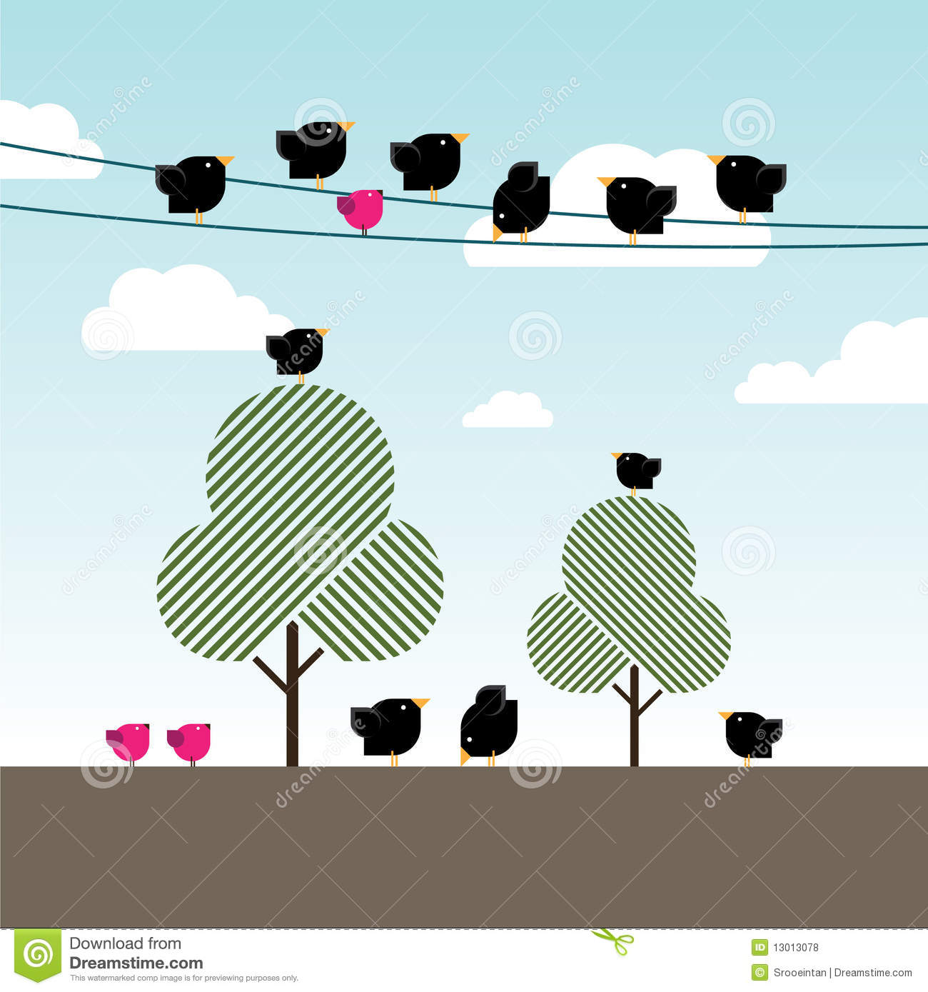 Black Crows And Magenta Birds On Power Lines Royalty Free Stock.