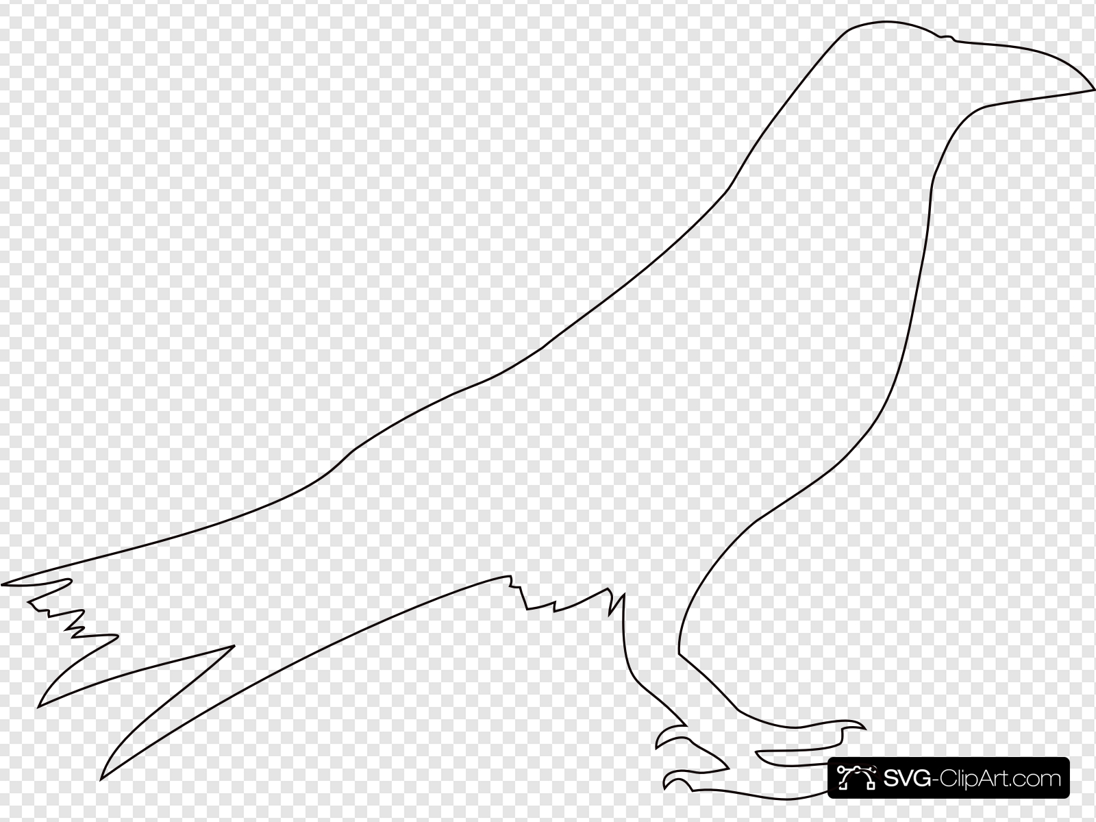 Crow Outline Clip art, Icon and SVG.