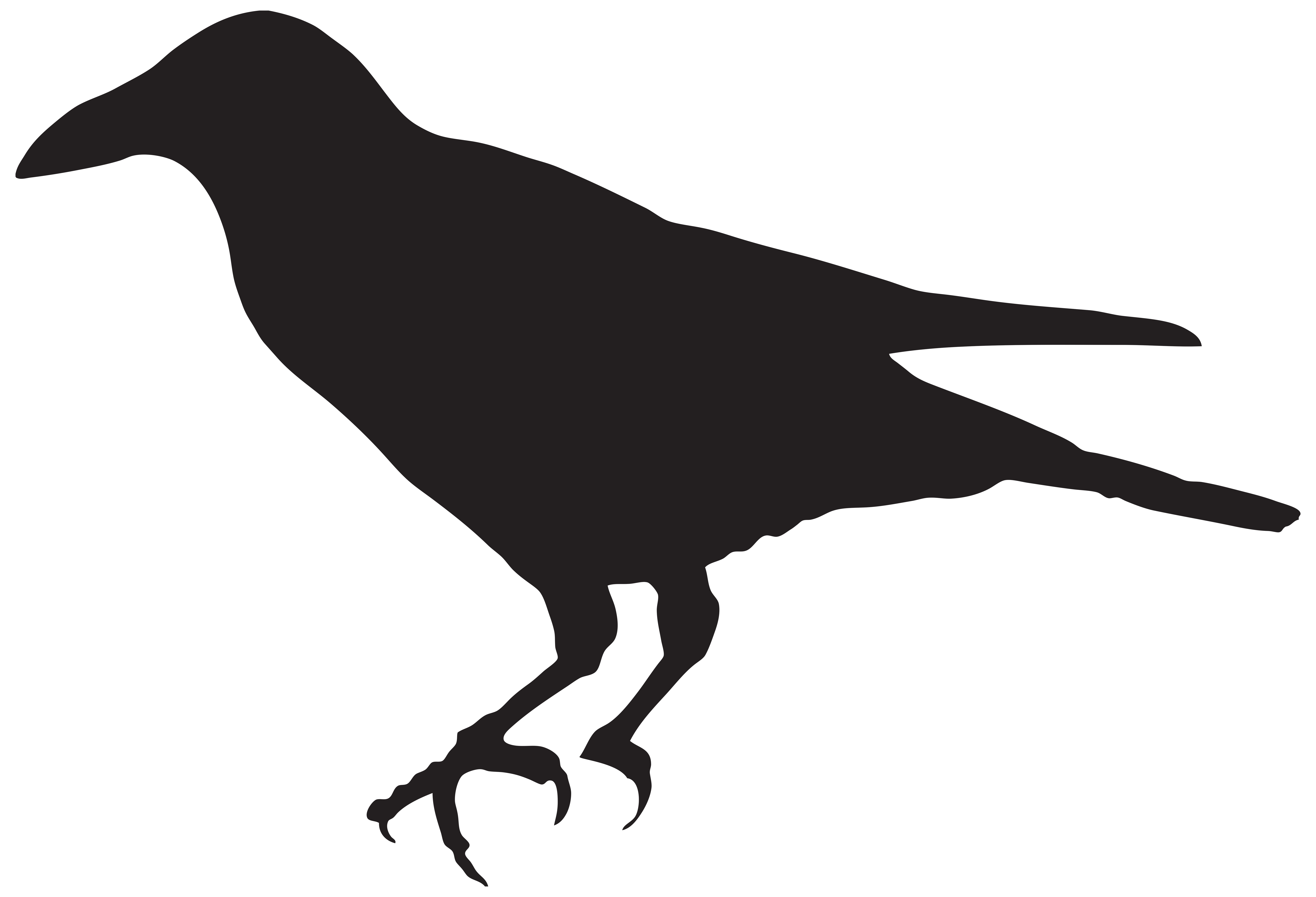 Crow Silhouette PNG Clip Art Image.