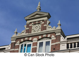 Stock Photo of traditional dutch crow stepped gable.