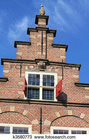 Stock Photo of traditional dutch crow stepped gable k3580773.