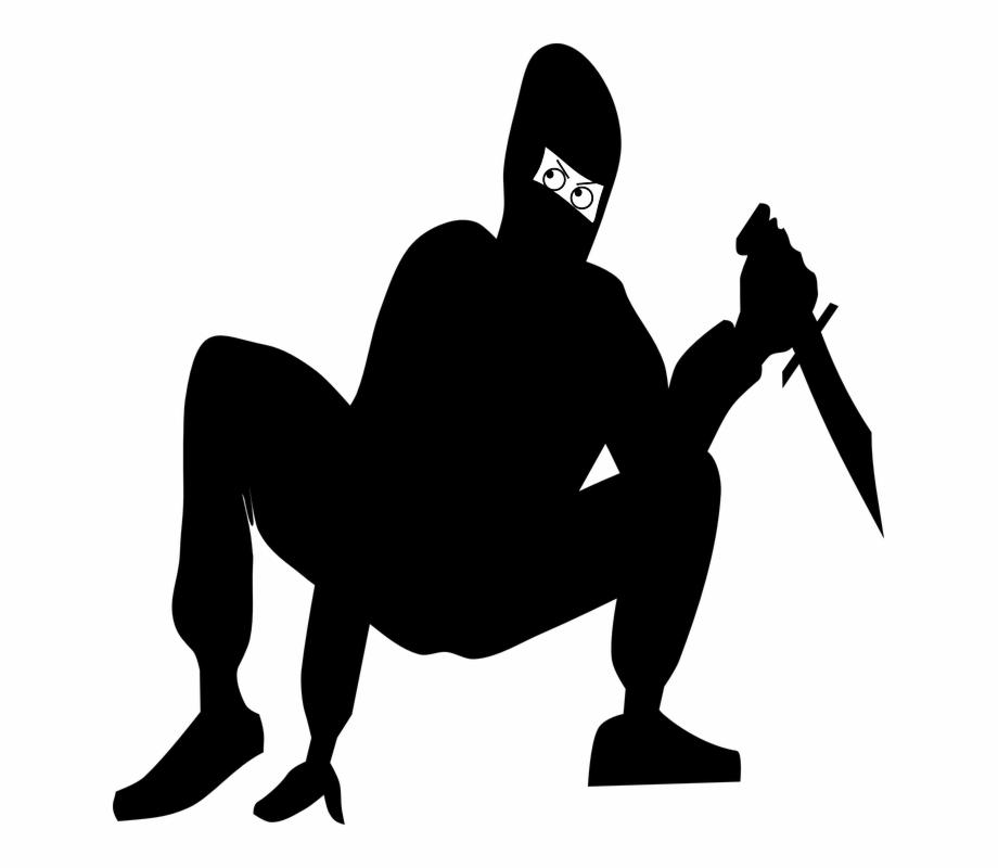 Ninjia Mask Knife Squat Crouch Silhouette Danger Ninja.