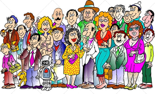 Crowd of people cartoon clipart.