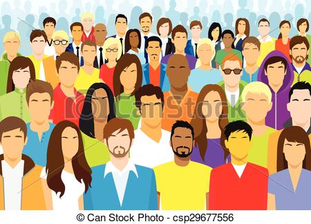 Crowd of people clip art.