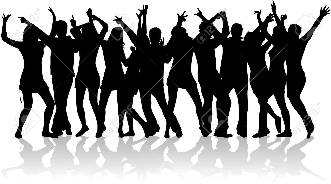 Free Dance Party Crowd Silhouette Clipart.