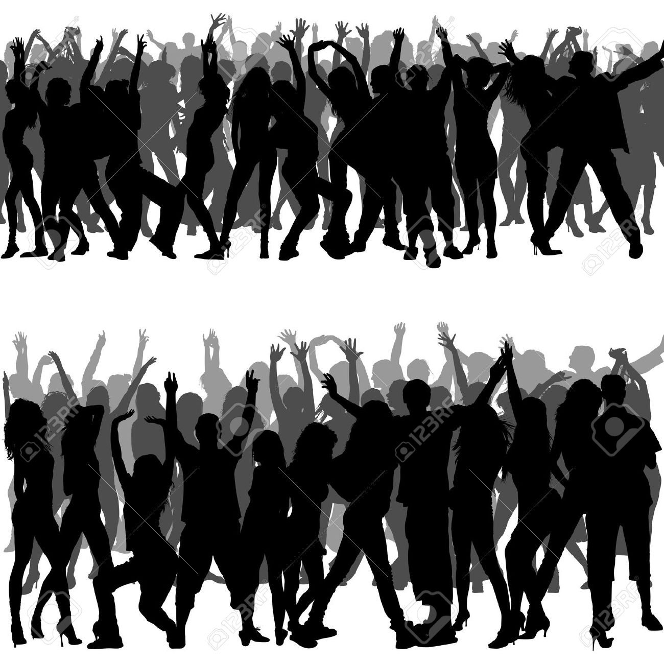 Crowd Clipart Silhouette.