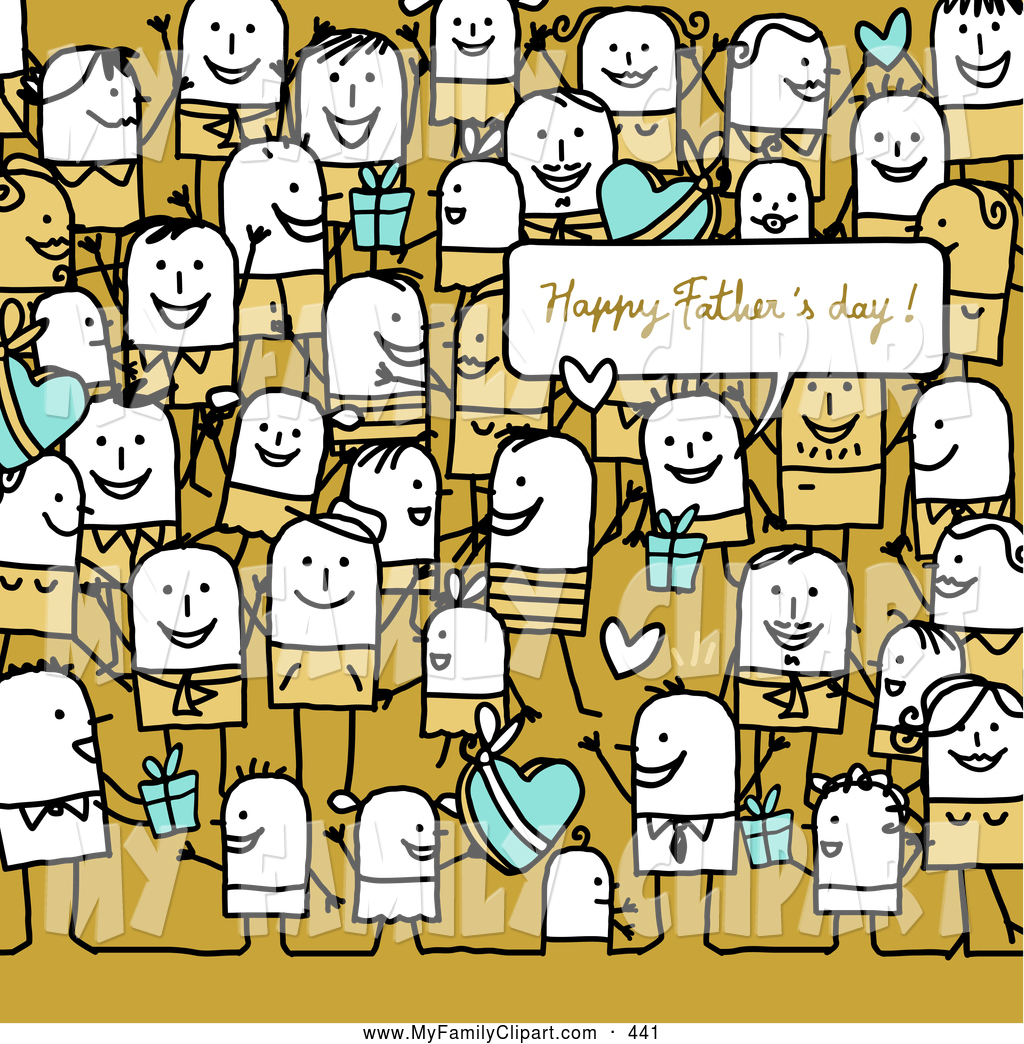 Clip Art of a Crowd of Stick People at a Crowded Fathers Day Party.