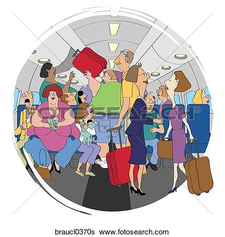 Stock Illustration of Crowded Airplane braucl0370s.