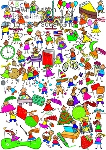 Clipart Illustration of Kids Are Great Cute Cartoon Montage.