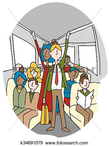 Clip Art of Crowded People Bus Riders k34691079.