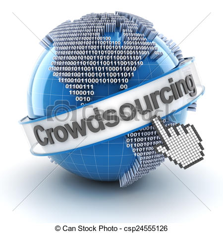 Clip Art of Crowdsourcing symbol with globe and cursor, 3d render.