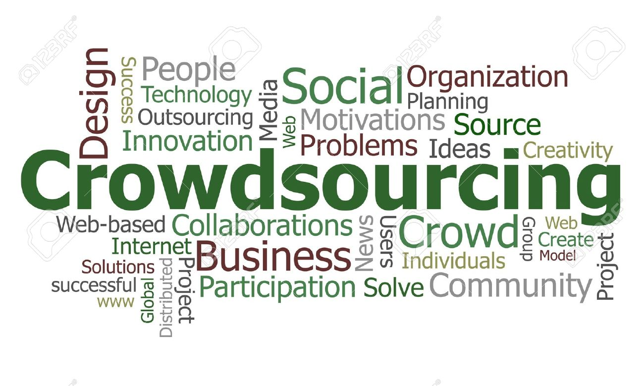 Crowdsourcing Word Cloud Conceptual Illustration Royalty Free.
