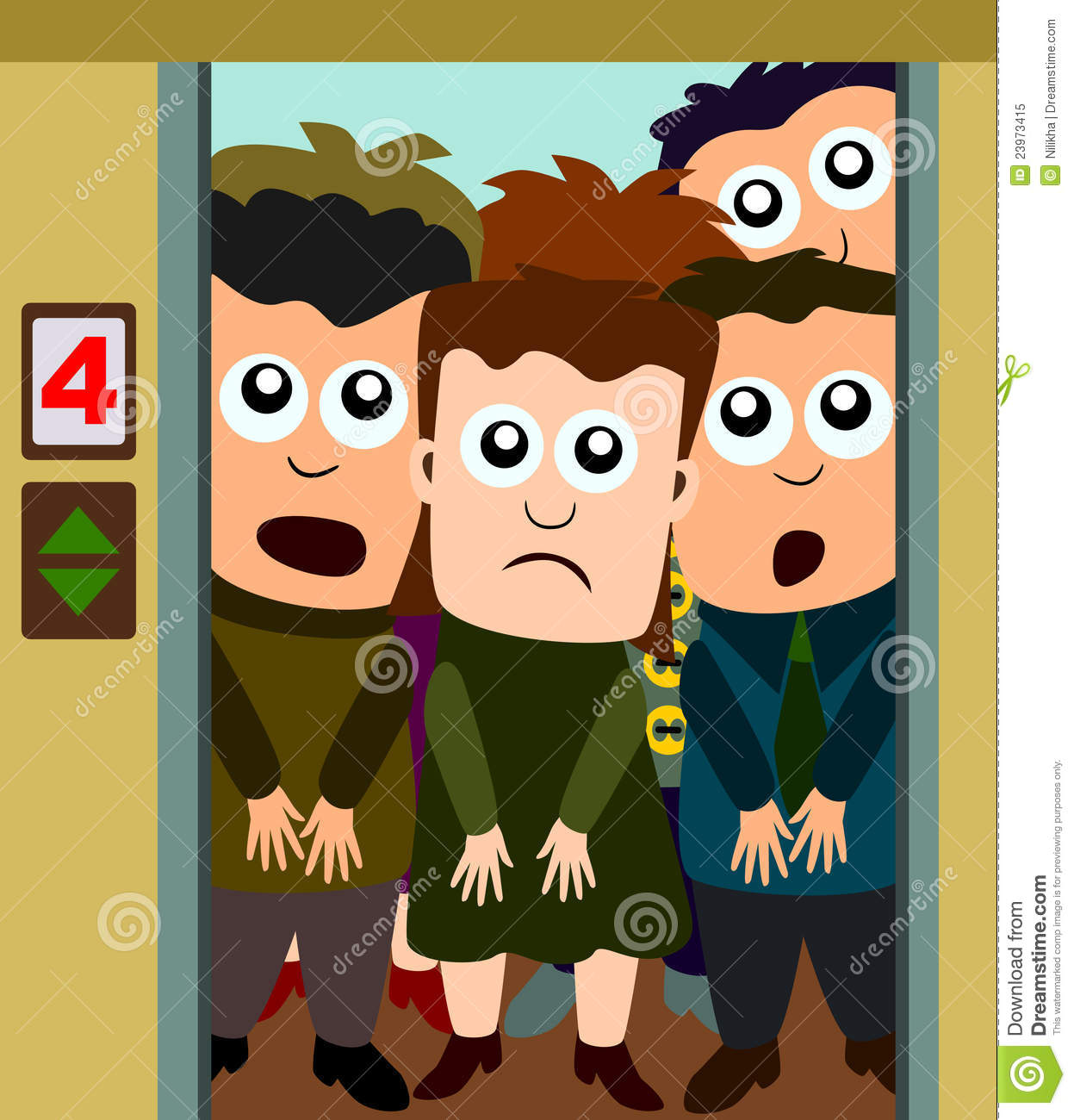 Crowded Elevator Clipart.