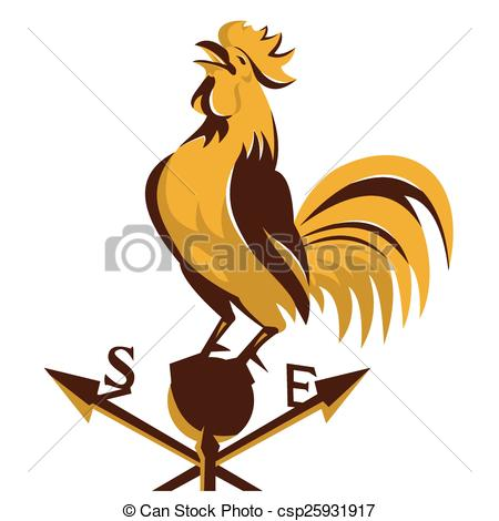Clipart of Rooster cockerel crowing.