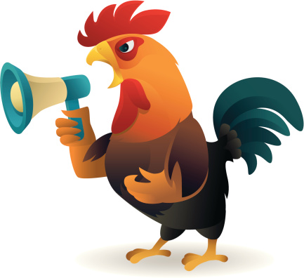 Clipart rooster crowing.