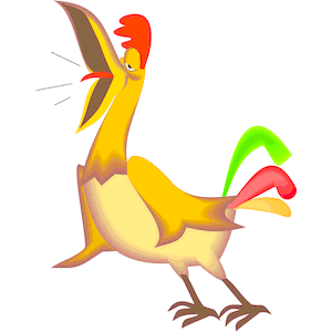 Crowing Rooster Clip Art.