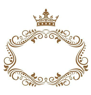 Gold Monogram Border with Crown.