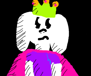 """Cave goat king"""" with green crown (drawing by Gabbeh B)."""